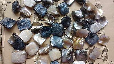 50 Natural Mother of Pearl Beads Square Knobbly Shell Beads Irridescent