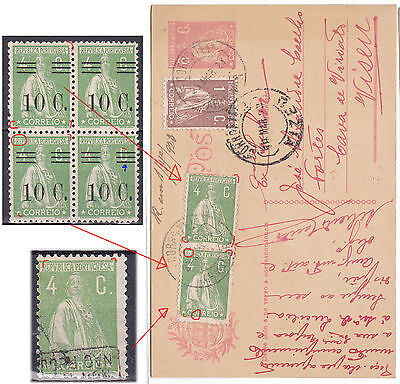 PORTUGAL postcard to Viseu 1923- Nice ceres cliches study- Read.