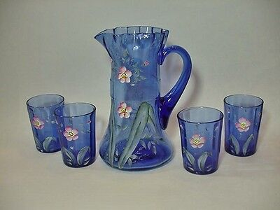 Antique Victorian Hand Painted Blue Water Set -- Pitcher + 4 Tumblers, Excellent