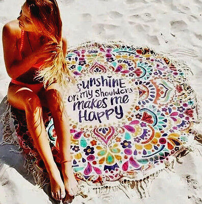 Tissu Serviette De Plage Sunshine Happy Rond Blanket boho hippie