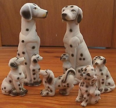 Dalmation Family Ceramic Hand Painted Figurines set of 6