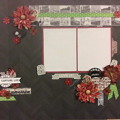 handmade scrapbook page 12 X 12 Capture Life Love It  Themed Layout