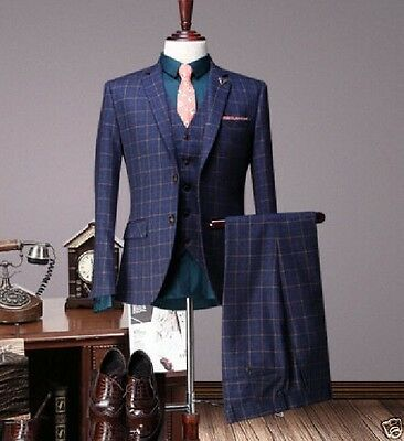 Grid Men's Wedding Suits Groom Business Tuxedos England Tailcoat Tailored Suit