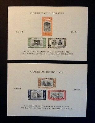 BOLIVIA 1948 imperf minisheets 400th Anniv of La Paz