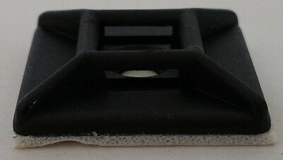 Self-adhesive cable mount 26x26mm 25Stück black self adhesive