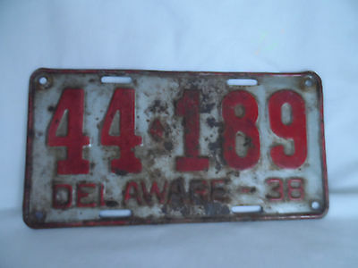 1938 Delaware License Plate Tag 44 189 Rare Red Numbers Vintage DE