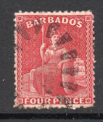 Barbados 4 Pence Stamp c1875-80 Used Perf 14