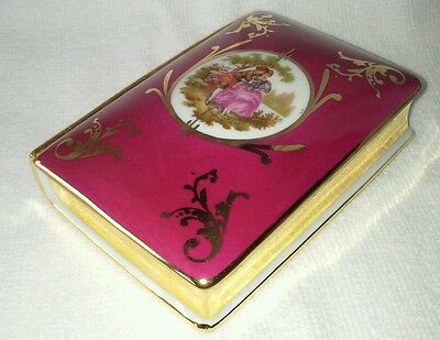 LIMOGES BOOK Trinket Jewlery Ring Box Dish  France lidded gilt pink