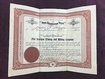 Phil Sheridan Mining and Milling Company Stock Certificate 1000 Shares 1905 #64