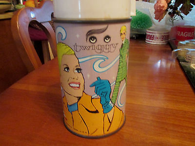vintage Twiggy the model metal thermos glass lined 1970s