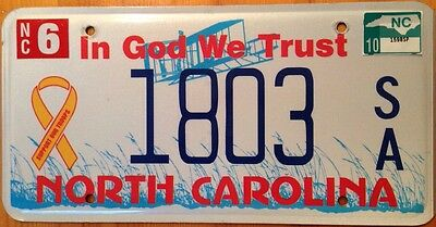 North Carolina In God We Trust license Plate Support Troops God Jesus Religious