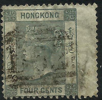 Hong Kong 1863 QV 4 cents Grey Right Wing Margin Fine Used