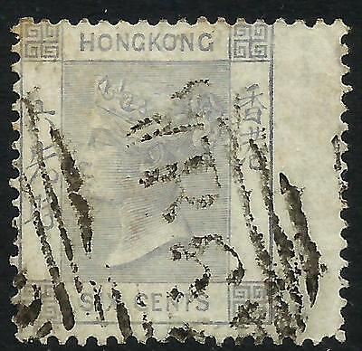 Hong Kong 1863 QV 6 cents Lilac Right Wing Margin Fine Used