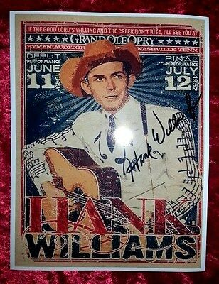 HANK WILLIAMS,JR Hand-Signed  HANK SR Grand Ole Opry Memorial Poster   ONLY ONES