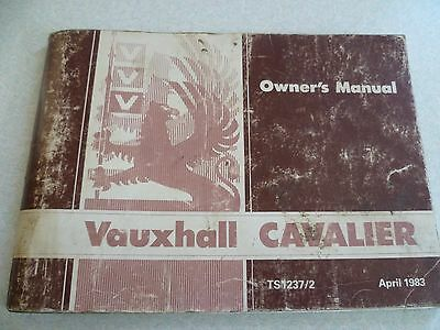 Vauxhall Cavalier Owner's Manual Dated April 1983