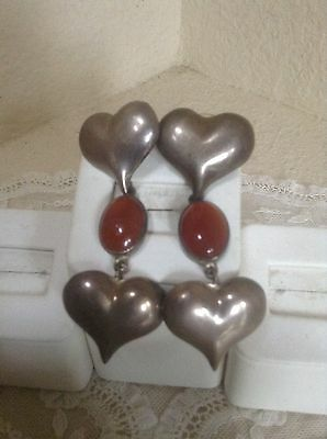Taxco Vintage 925 Sterling Silver Amber Puff Heart Earrings Mexico
