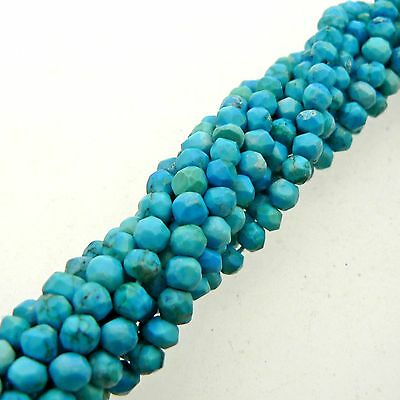 """Turquoise Faceted Rondelle Beads 15"""" Strand Semi Precious Gemstone"""