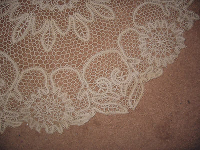 """Old, Large 30"""" & Lovely Honiton Irish Lace / Crochet  Table Accessory"""