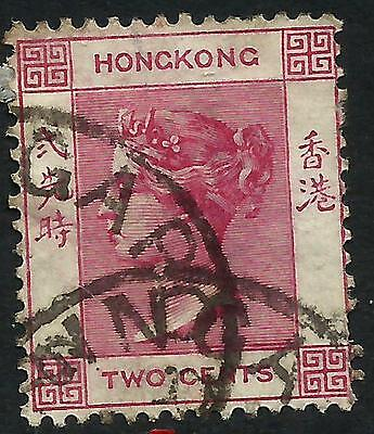 Hong Kong 1883 QV 2 Cents Carmine with SINGAPORE single-lined CDS
