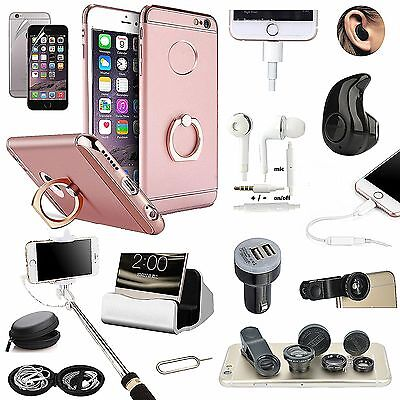 Pink Ring Holder Case Bluetooth Earphone Monopod Lens Kit Accessory For iPhone 7