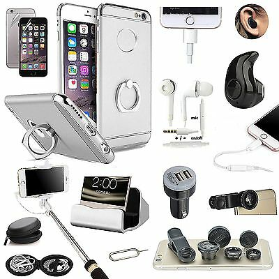 Sliver Ring Holder Case Wireless Headset Fish Eye Selfie Stick For iPhone 7 Plus