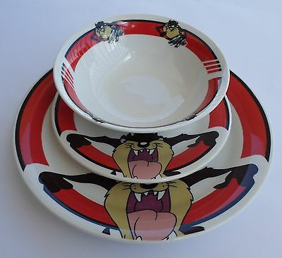 Looney Tunes Tazmanian Devil Plate + Bowl Set by Gibson, Warner Bros 2002