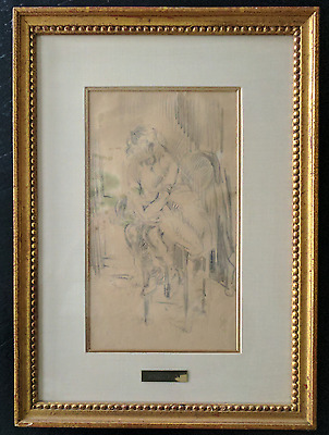 """Jacques Villon """"Seated Girl"""" - Original, Signed - Pencil On Paper 1907"""