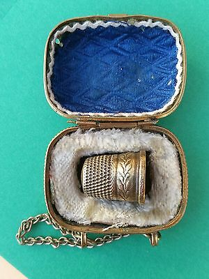 Attractive Victorian Brass Thimble Holder Together With Patterned Brass Thimble