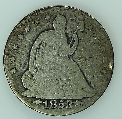 1853 Seated Liberty Half Dollar! G Details! 50C! Us Coin Lot #389