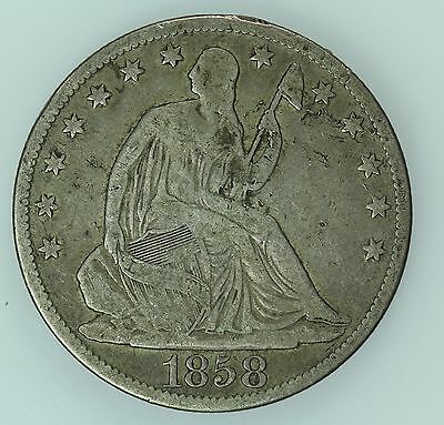 1858 O Seated Liberty Half Dollar! Vg Details! 50C! Us Coin Lot #390