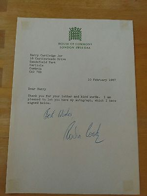 Robin Cook - Labour Mp - Hand Signed Letter