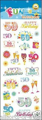 """Fun Self Adhesive Stickers """" 50Th Birthday"""" For Cards & Craft"""