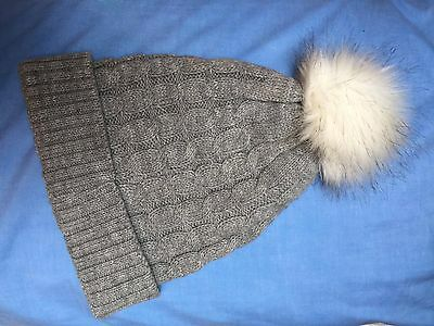 Grey Knitted Louche Hat with White, Fur Bobble