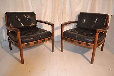 Stunning Pair Vintage Danish Arne Norell Rosewood & Leather Lounge Chairs