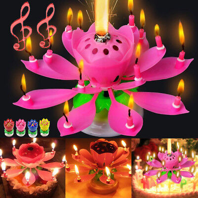 2017 HOT Cake Topper Blossom Musical Party Magic Birthday Candle Lotus Flower