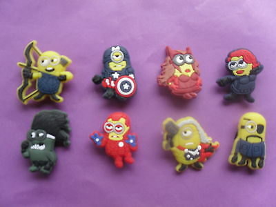 8 Despicable Me Avengers Minions jibbitz loom band croc shoe charms cake toppers