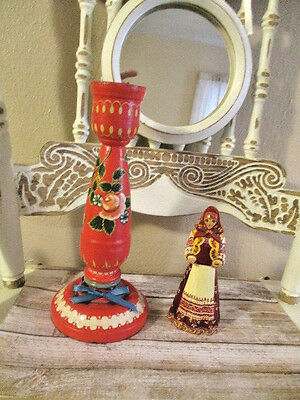Vintage Red Scandinavian Wood Candle Holder and Wood Girl Figure
