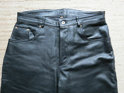 Redskins black leather cuir jeans pants T44 w34 Bluf - Gay .