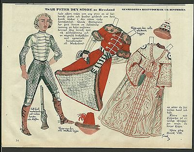 Peter The Great Tsar Peter den Store 1953 Vintage Swedish Paper Doll Russian
