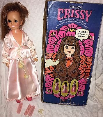 Vintage 1971 Talky Crissy Ideal Gro Red Hair Doll Box Outfit Rollers