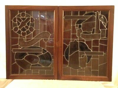 Antique Mahogany Wall Cabinet With Leaded Glass Doors