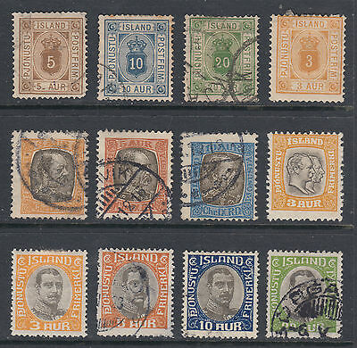 Iceland 1876-1920 Official Stamps 12 Different SCV $164.00