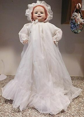 """16"""" Repro Georgene Averill Germany Bisque & Cloth Bonnie Babe Baby Artist Doll"""
