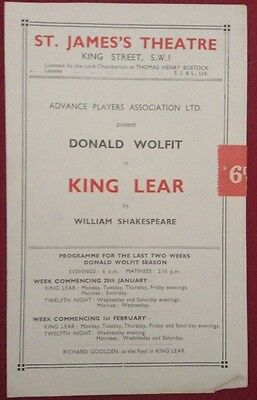 1943 Programme St James Theatre Donald Wolfit in Shakespeare's King Lear