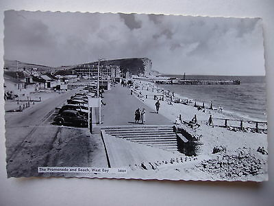 The Promenade and Beach, West Bay. - vintage real photograph