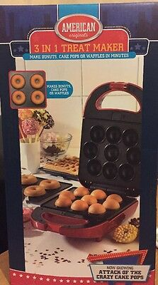 3 In 1 Treat Maker Donuts, Waffles, Cake Pops Used Once