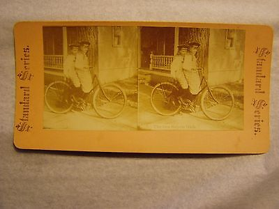Standard Series 2 Girls With Wood Rim & Fender Bicycle Antique Stereoview Card