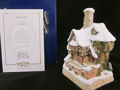 David Winter Cottage Special Christmas 1996 Tiny Tim House with Box & COA
