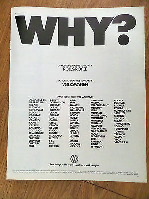 1972 VW Volkswagen Bug Ad  WHY ?