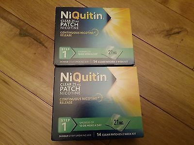 NiQuitin Clear 21mg Patch Nicotine step 1  Patches New x 2 box. 28 days
